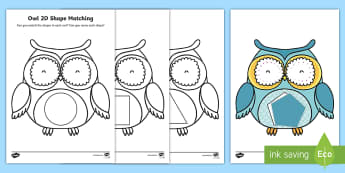Owl-Themed 2D Shape Matching Activity - EYFS Owlets, Owl Babies, Martin Waddell, shape, space and measures, ssm, mathematics, owl, owls