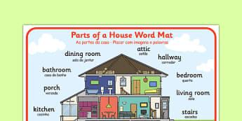 As partes da casa - Placar com imagens e palavras Portuguese Translation - portuguese, parts, house, word mat, word, mat