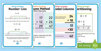 KS1 Addition Strategies Display Posters - parition, counting on, column method, column method without regrouping, number line