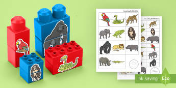 African Jungle Animals Matching Connecting Bricks Game - EYFS, Early Years, KS1, Connecting Bricks Resources, duplo, lego, plastic bricks, building bricks, a