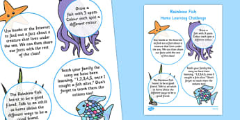 Nursery FS1 Home Learning Challenge Sheet to Support Teaching on The Rainbow Fish - eyfs, rainbow fish, challenge