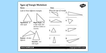 Types of Triangles Worksheet / Activity Sheet - triangles, shapes, types of triangles, triangle worksheet, angles, triangle angles, triangle labelling worksheet, maths