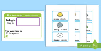 Daily Weather Calendar Cards English/Spanish - daily weather calender, weather chart, short date calender, short date, calender, weather, calander,