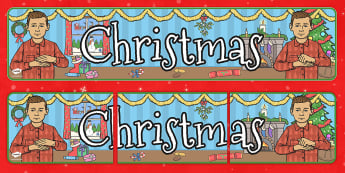 British Sign Language Christmas Display Banner Left Handed - left