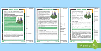 KS1 Advent Wreath Differentiated Reading Comprehension Activity - christmas reading, retrieve information, non fiction text, origins, christmas traditions,