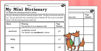 Mini Dictionary Worksheet to Support Teaching on Fantastic Mr Fox - mr fox, dictionary