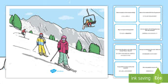Winter Sports Scene and Question Cards English/Mandarin Chinese - winter sports, scene, questions, ski, snowboard, mountain, EAL