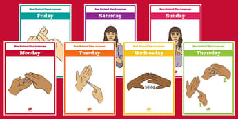 New Zealand Sign Language Days of the Week Display Posters - nz, new zealand, sign language, new zealand sign language week, days of the week, display posters