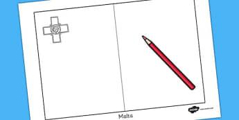 Malta Flag Colouring Sheet - geography, countries, colour, malta