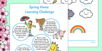 Spring Home Learning Challenge Sheet Reception FS2 - EYFS planning, early years activities, homework, seasons