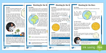 KS1 Planets and the Solar System Differentiated Fact File - Back to Earth with a Bump, space, planets, night and day, dark, sun, Mars, moon, stories, picture bo