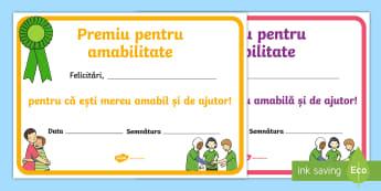 Premiu pentru amabilitate Diplomă - dezvoltare personală, comportament, relații, management comportamental,Romanian
