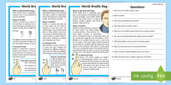 KS1 World Braille Day  Differentiated Reading Comprehension Activity - World Braille Day, Louis Braille, accident, young, inventor, professor, visually impaired, blind, ey