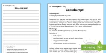 Goosebumps! Worksheet / Activity Sheet - Amazing Fact Of The Day, worksheet / activity sheets, powerpoint, starter, morning activity, December, spooky st