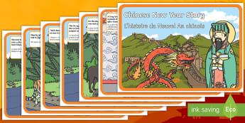 Chinese New Year Story English/French - Chinese New Year Story - Display Posters, Chinese new year animals, A4, display, posters, China, lan