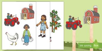 Grandad's Farm Story Stick Puppets - Aistear, exploring my world, grandads Farm, story, eggs, pigs, cows, chickens, tomatoes, tractor, li