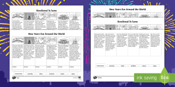 New Year's Eve around the World Differentiated Activity Sheets English/Romanian - Celebrations, annual, seasons, calendar, birthday, new years eve, EAL, worksheet