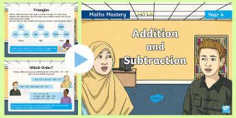 Year 4 Solve Addition and Subtraction Problems Maths Mastery PowerPoint - Reasoning, Abstract, Probelm Solving, Explanation, Collaboration, word problems, reasoning