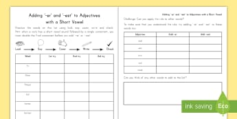 Spelling Practice Adding er and est to Adjectives Worksheet / Activity Sheets - spelling, practice, er, est, worksheets, suffixes, comparative, adjectives