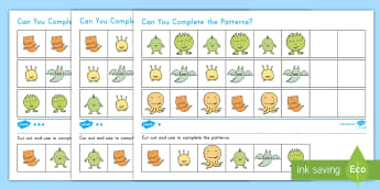 Germs Differentiated Complete the Pattern Activity Sheet - keeping clean, personal hygiene, hygiene, patterns, patterning, math skills