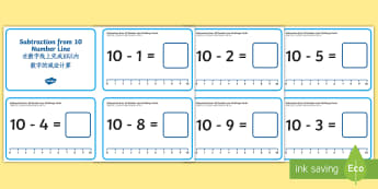 Subtraction from 10 Number Line Challenge Cards English/Mandarin Chinese - subtract, take away, number bonds, ten, units, inverse, counting on