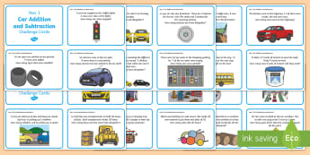 Year 1 Car Themed Maths Challenge Cards - Car, vehicles, challenge, maths, addition, add, plus, sum, total, altogether, equals, subtract, subt