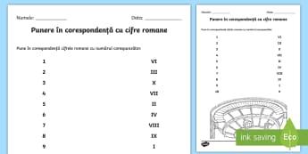 Cifrele romane Fișă de activitate - cifre romane, numere romane, numerație , activități, jocuri matematice, jocuri, Romanian