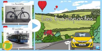 Presentación: El transporte - Fotos - transporte, coche, camión, avión, globo aerostático, autobús, moto, motocicleta, vía, carretera