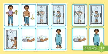 Visual Guide: Showering (Male) Flashcards  - hygeine, hygiene, persona, sen, flashcards, routine, PE, kit, uniform