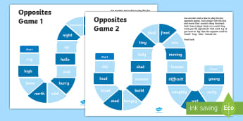 Opposites  Board Game  - oral language, board game, opposites, words, reading, co-operative learning,Irish