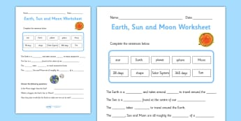 Earth, Sun and Moon Activity Sheet Pack - worksheets, worksheet, work sheet, space, in space, earth, sun, moon, sun and moon, planet, our planet, sheets, activity, writing frame, filling in, writing activity