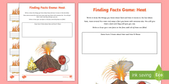 Heat Finding Facts Activity Sheet - ACSSU049, conduction, convection, radiation, heat sources, heating up,Australia