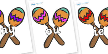 Phase 5 Phonemes on Maracas - Phonemes, phoneme, Phase 5, Phase five, Foundation, Literacy, Letters and Sounds, DfES, display