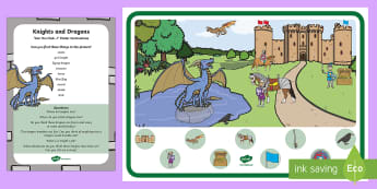 Knights and Dragons Can You Find...? Poster and Prompt Card Pack - Zog, i spy, finding, Sir, castles,