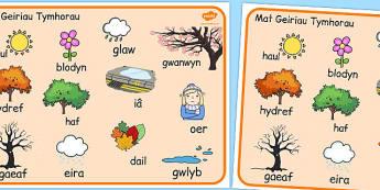 Welsh Season Word Mat - welsh, season, word mat, word, mat, words