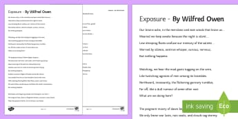 Complete Poem to Support Teaching on 'Exposure' by Wilfred Owen - poetry, anthology, aqa, wilfred owen, poem, exposure, war, horror