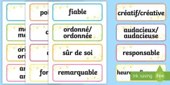 Cartes de vocabulaire : Adjectifs inspirants - Inspirer, courage, différent, encourager, singulier,French