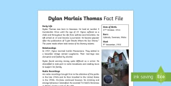 Dylan Thomas Fact File-Welsh