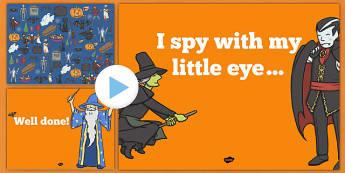 Halloween I Spy Worksheet / Activity Sheet and PowerPoint Pack - halloween, hallowe'en, I spy, activity, worksheet