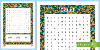 Gaudí Word Search - gaudí, architect, art, works, barcelona, modernism