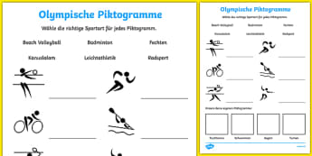 Olympische Piktogramme Arbeitsblatt