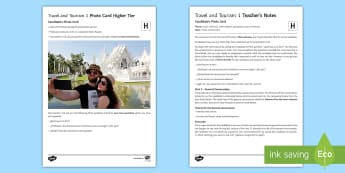 Travel And Tourism 1: Higher Tier Photo Card Activity Spanish - Spanish, speaking, practice, oral, photo, card, picture, illustration, practice, revision, skills,
