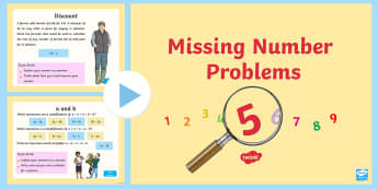 Missing Number Problems Second Level PowerPoint - Algebra, equations, formula, numeracy, x, y,,Scottish