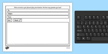 Email a Story Character Writing Frame Template - email, stories