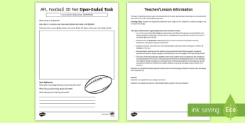 AFL Football 3D Net Open-Ended Task Activity Sheet - ACMMG140, net, 3D net, create a net, build a net, shape nets, make a net, worksheet, AFL, AFL maths,