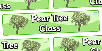 Pear Tree Themed Classroom Display Banner - Themed banner, banner, display banner, Classroom labels, Area labels, Poster, Display, Areas