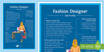 Fashion Designer Job Profile A4 Display Poster - Fashion, Display, wall display, A level, gcse, future, career, options, options evening