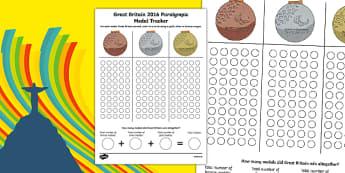 Rio 2016 Paralympic Games Medal Tracker Activity Sheet, worksheet