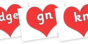 Silent Letters on Hearts (Plain) - Silent Letters, silent letter, letter blend, consonant, consonants, digraph, trigraph, A-Z letters, literacy, alphabet, letters, alternative sounds