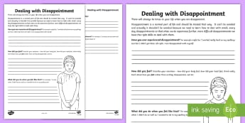 Dealing With Disappointment Activity Sheet - emotions, stress, relationships, transition, families, young people, PSHCE, worksheet